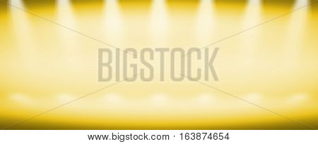 3D illustration background / Abstract yellow empty room studio gradient used for background and display your product