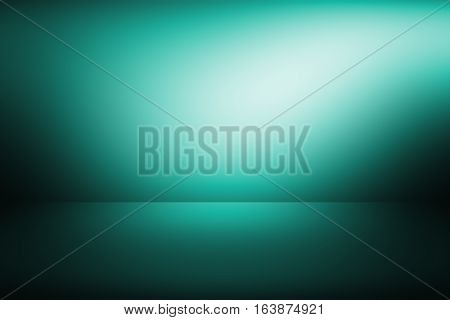 3D illustration, green-blue gradient background. gradient flat wall and floor in empty spacious room. gray empty room studio gradient used for background and display your product