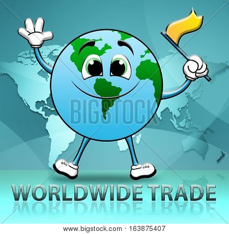 Worldwide Trade Indicates Import E-commerce 3D Illustration