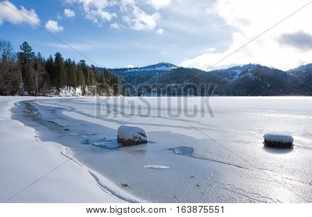 Frozen Spirit Lake during winter in Spirit Lake Idaho.