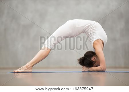 Side view portrait of beautiful young woman with tattoo on her foot meaning Wild cat working out in fitness club or at home, doing yoga or pilates exercise. Elbow Bridge, Dvi Pada Viparita Dandasana