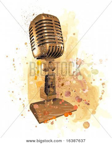 Vector vintage gold microphone. Watercolor background