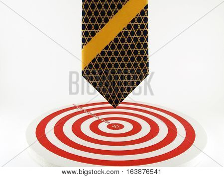 Necktie pointed to the bullseye, concept about heading to the target and success is not far away