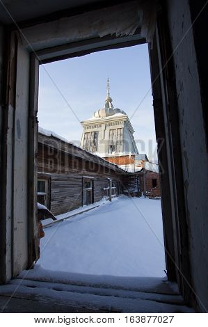 Russian historical abandoned old building - reconstruction in haunted house - wooden dome , wide angle