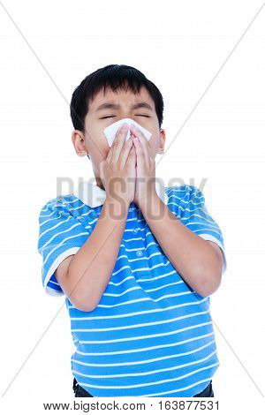 Handsome Asian Boy Blowing His Nose Into Tissueon. Isolated On White Background.