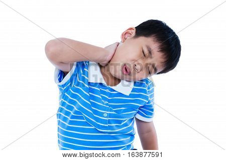 Asian Handsome Boy Have A Neck Pain. Isolated On White Background.