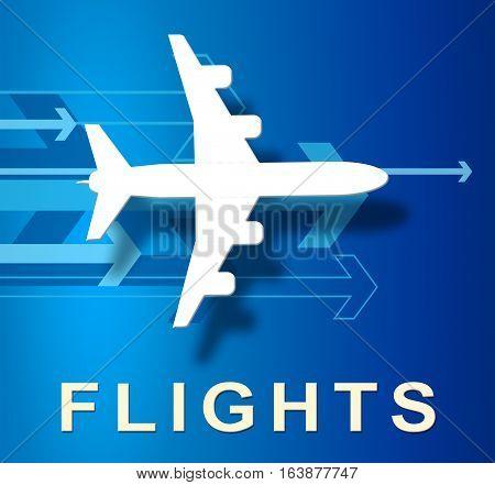 Flights Plane Overseas Vacation Or Holiday 3D Illustration
