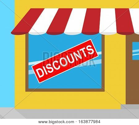 Discounts Sign Indicating Promotional Closeout 3D Illustration