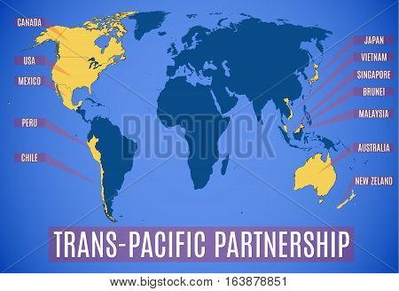 Vector Schematic Map Of The Trans-pacific Partnership (tpp).