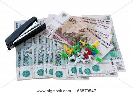 Multi-colored Buttons, Stapler And Money On A White Background  Разноцветные кнопки, степлер и деньг