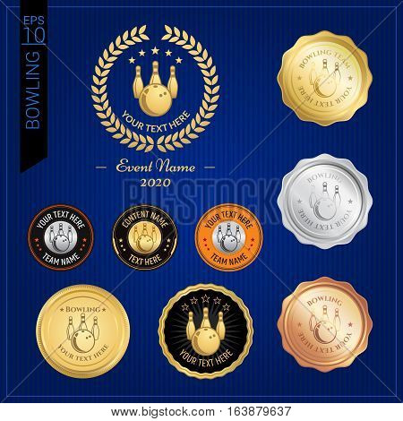 Set of bowling badge label or emblem for sport competition event