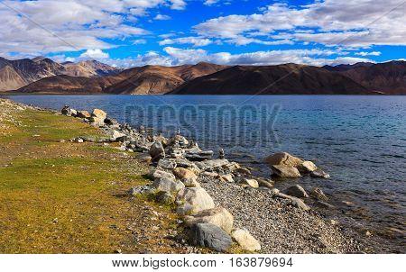 Pangong tso Lake Ladakh Jammu and Kashmir state India