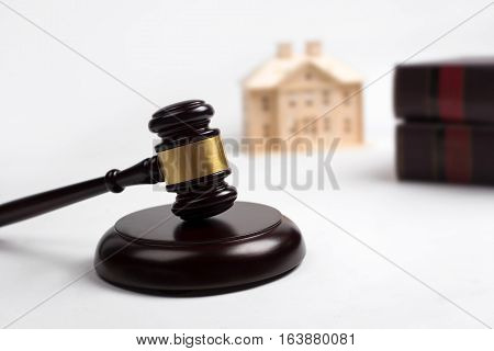 Gavel Wooden, House, Lawyer Book For Home Buying Or Selling Of Bidding Or Lawyer Of Home Real Estate
