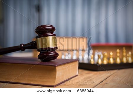 Judge Gavel Antique Weathered Vintage Wooden, Golden Chess And Law Books In Court, Close Up Of Photo