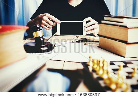 Vintage Of Lawyer Working At Lawyer Desk With Object, Retro Process Photography.