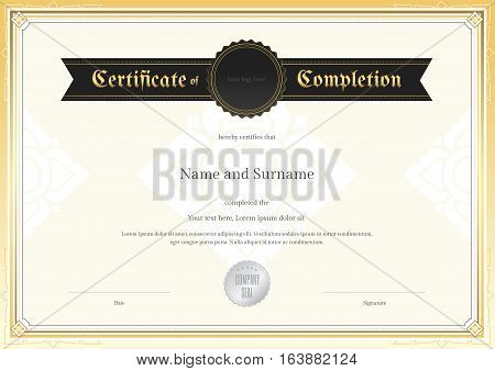 Certificate of completion template with applied Thai art background and border
