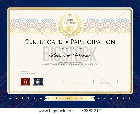 Modern certificate of participation template with colorful wave watermark gold trophy and blue border