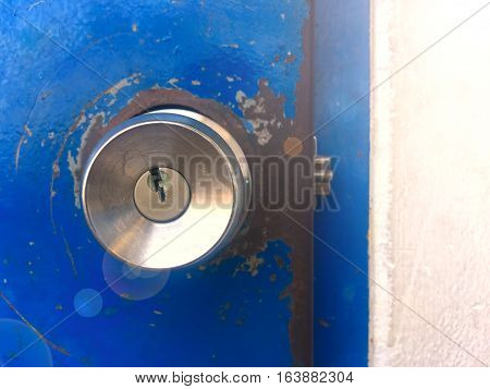 Door knob ,front door background .Door knob