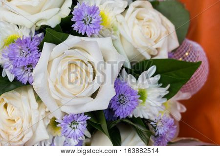 Close up bouquet of mixed flowers, copy space