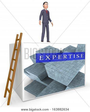 Expertise Blocks Representing Master Skills 3D Rendering