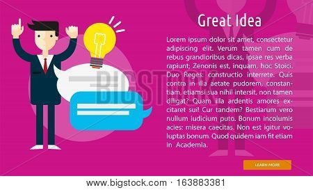 Great Idea Conceptual Banner | Great flat illustration concept icon and use for business, people, marketing, working, idea, event and much more.