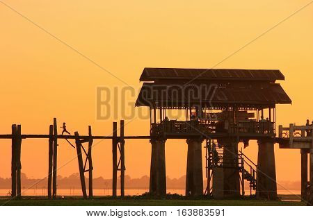 Colorful Sunset At U Bein Bridge, Amarapura, Myanmar