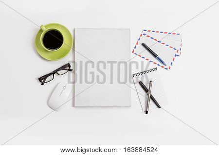Flat Lay Office Desk Top View Business Equipment And Accessories, Modern Design.