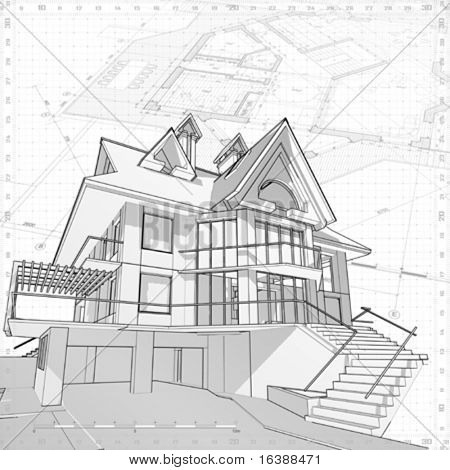 3d house: vector technical draw