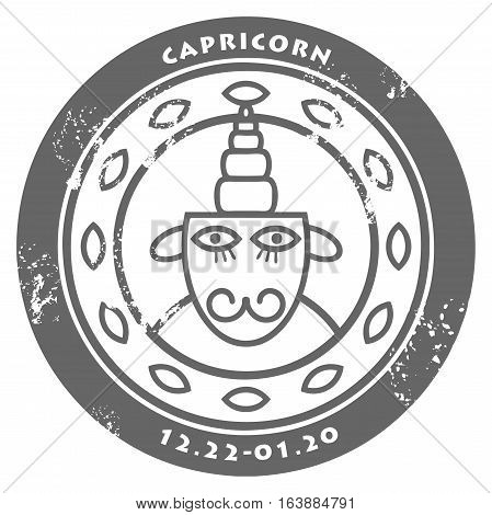 Grunge rubber stamp - sign of the zodiac Capricorn, vector illustration
