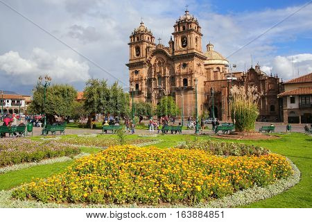 Cusco, Peru - January 20: Iglesia De La Compania De Jesus On Plaza De Armas On January 20, 2015 In C