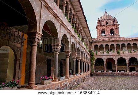 Cusco, Peru - January 20: Courtyard Of Convent Of Santo Domingo In Koricancha Complex On January 20,