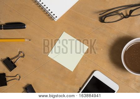 Office Old Wood Table With Paper Note For Insert Your Text Display