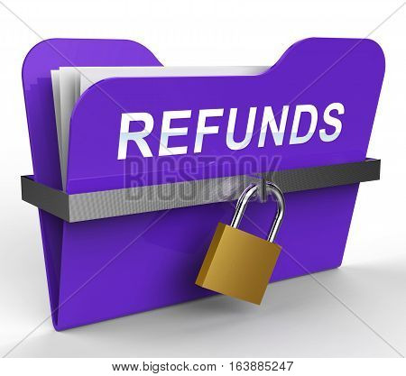 Refunds Folder Means Money Back 3D Rendering