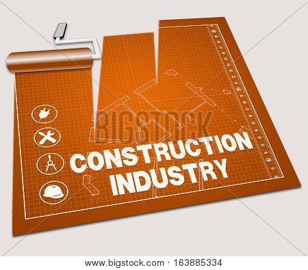 Construction Industry Shows Building Sector 3D Illustration