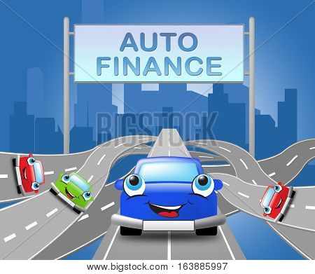 Auto Finance Sign Or Car Loan 3D Illustration