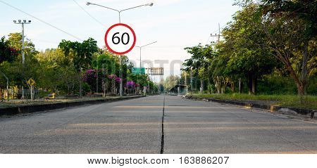 sign and a speed sign of 60 kilometers per hour