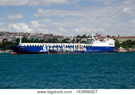 ISTANBUL TURKEY - JUNE 8 2016: The Stena Sealine ferrry Sea Partner docked at Haydarpasa in Istanbul on a sunny Summer afternoon viewed from the Bosphorus. The ferry transports lorries and cargo across the Black Sea to Ukraine.