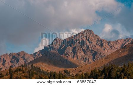 Peaks Near Talgar Pass At Shymbulak Ski Resort At Summer Time, Tien Shan Mountains, Almaty, Kazakhst