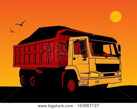 Dump truck hand draw color illustration, vector