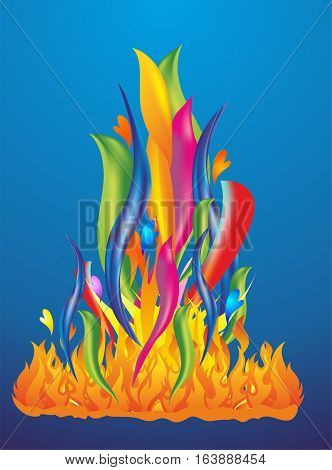 composition with colorful flames and colored tongues of fire