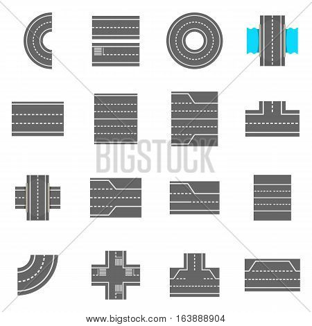 Road elements constructor icons set. Cartoon illustration of 16 road elements constructor vector icons for web