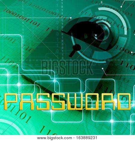 Password Security Shows Sign In 3D Rendering