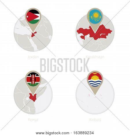 Jordan, Kazakhstan, Kenya, Kiribati Map And Flag In Circle.