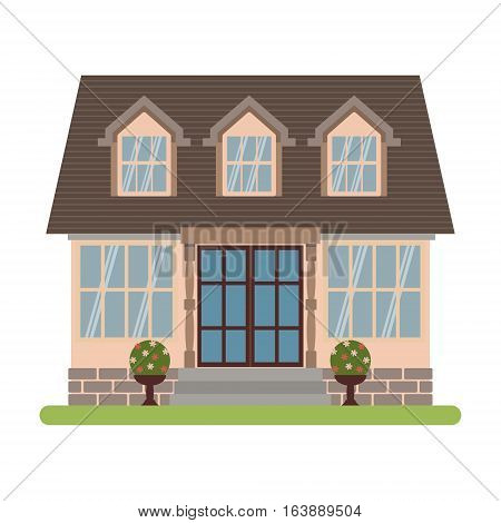 Modern country house in Cape cod style. Vector illustration of a tourist house for rent sale booking and living isolated on white background.