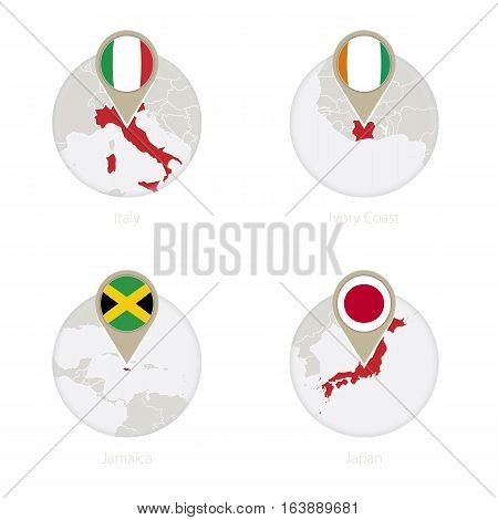 Italy, Ivory Coast, Jamaica, Japan Map And Flag In Circle.