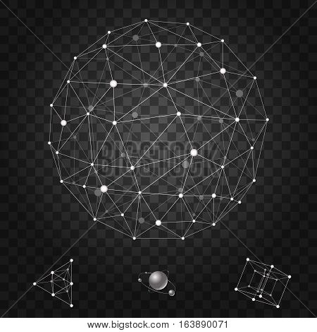 Abstract and polygonal wireframe icons set vector illustration