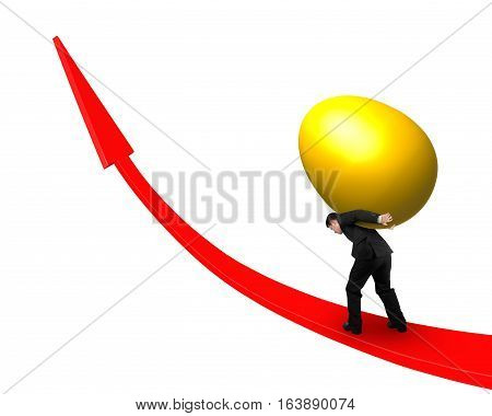 Man Carrying Golden Egg Upward On Red Trend Line
