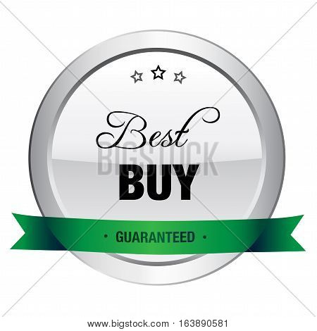 Best buy seal or icon. Silver seal or button with stars and green color.