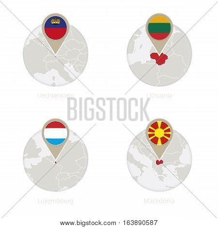 Liechtenstein, Lithuania, Luxembourg, Macedonia Map And Flag In Circle.