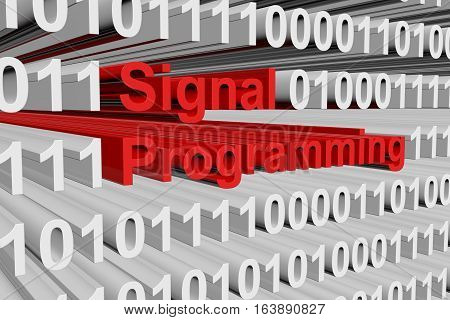 signal programming in the form of binary code, 3D illustration